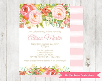 Floral Baby Shower Invitation | Printable Garden Baby Shower Invite | Watercolor Baby Sprinkle Digital File