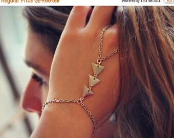 FALL SALE silver triangle slave bracelet, silver triangle hand chain,  geometric bracelet, bracelet ring, ring bracelet, art deco