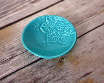 Turquoise Dish - Boho Star Ring Holder - Jewelry Bowl - Turquoise Wedding Favor / Bridesmaids Gift / Bridal Shower Gift - Handmade Favor