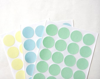 """Big Circle/Round Stickers in Pastel Green,Pastel Blue, Pastel Yellow, Size 1.2"""" inch or 30mm, Set of 3 sheets or 60 circles"""
