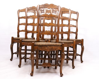 Ladder Back Dining Chairs Rush Seats Carved Set of 6 French Country
