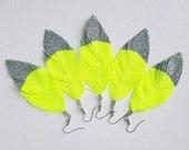 NEON GLITTER - Feather Earrings, Neon Feathers, Neon Earrings, Neon Yellow Earrings, Large Earrings, Bohemian Earrings, Glitter Feathers