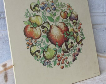 Vintage 1975 Litho Donald Trivet Wall art with fruits and mushrooms