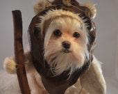 Furry Woodland Creature Cream Colored Dog Halloween Costume/Hood ewok inspired