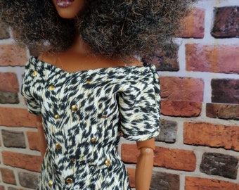 Studded Animal Print T for Barbie or similar fashion doll