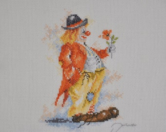 Finished / Completed Cross Stitch - Lanarte Clown with Flower ( 15533 )  crossstitch counted cross stitch