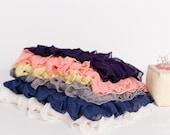 Small Ruffle Fabric Scrap Bag - 2 inch Ruffle Fabric Scraps | Approx. 8+ inches each | Grey Yellow Peach Blue - item 13