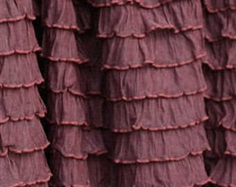 Chocolate Cascading Ruffle Fabric by the Yard
