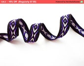 SALE 5 YARDS Purple Black Geometric Wooven Gross Grain Trim Ribbon 0.5'' - for Crafts, Sewing , Accessories