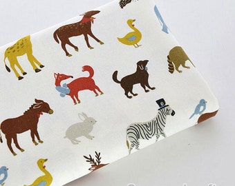 Animal Fabric, Cotton Linen Fabric, Kids Home Decor Fabric,Cotton Linen Fabric 1/2 yard (QT828)