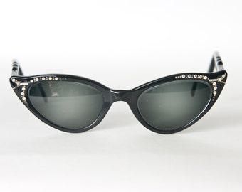 Vintage Rhinestone Cat Eye Eyeglass Frames, Vintage Cat Eye Glasses, Made in France