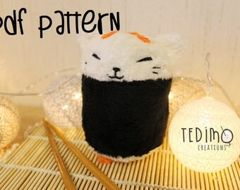Sushi cat plush PDF pattern