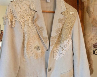 Women's Shabby Chic Upcycled Linen Wedding Jacket Bride Photo Vintage Lace Doilies Buttons