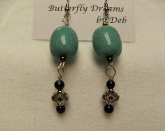 25% off - Turquoise Beaded Dangle Earrings