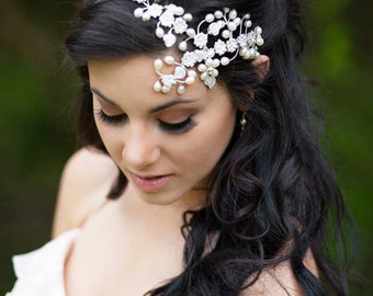 Bohemian Bridal Hair Accessories, Bridal Hair Jewelry, Crystal Bridal Headpiece, The Scheherazade Couture Headpiece #174