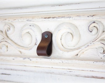 Leather Drawer Pulls | Rounded Leather Pulls | Finished leather front & back, Wipe away grungy build-up and germs