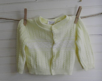 Vintage Baby Sweater, 12 Months Sweater, Yellow Knit Cardigan, Yellow Sweater, Baby Boy's Cardigan Sweater, 1980s Knit Sweater, SALE