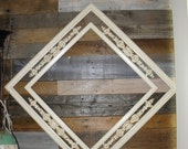 """15% OFF Vintage Shabby Chic Double White & Gold Painted Solid Wood Distresssed Frame, 28"""" Square,"""