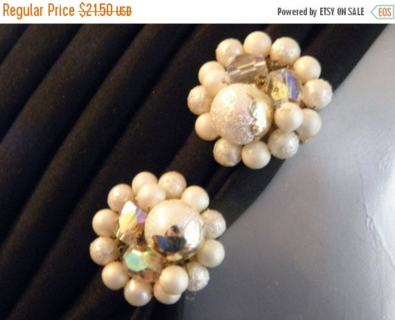 25% OFF 1960's TARA White with Gold Beaded and Crystal Earrings, Vintage, Juliana, DeLizza & Elster, Frosted, Iridescent, Clip