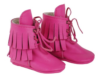 Hot Pink Moccasin Boots - Fur Lined