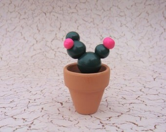 Tiny Potted Green and Pink Round Ball Flowering Cactus, Polymer Clay