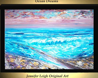 Original Large Abstract Painting Modern Acrylic Painting Oil Painting Canvas Art OCEAN DREAMS Blue Gold 36x24 Textured Wall Art  J.LEIGH