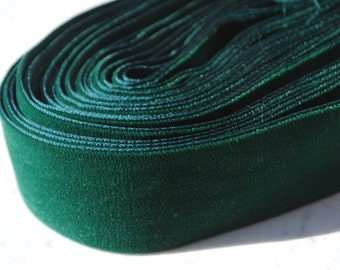 Beautiful French vintage dark green velvet ribbon - 2 inches (5 cm) wide - by the yard