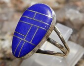 Sterling Blue Lapis Ring signed JC