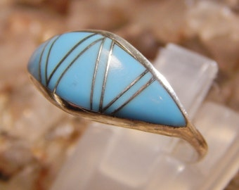 Native American Sterling Turquoise Ring signed MY