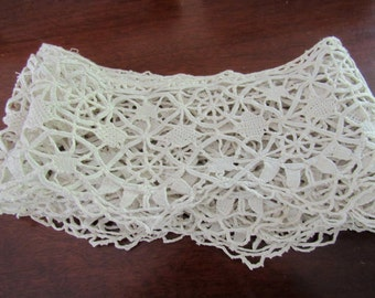 "Crochet Trim Edging, Vintage,  4"" Wide,  Needlelace, Off White"
