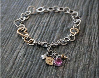OOAK #2 Limited Edition Wrapped Pixie Bracelet, Hand Forged Silver and Gold Bracelet, Mixed Metal Bracelet, Heart Link Bracelet, Pink Topaz