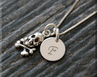 Sterling Silver Skull and Crossbones Charm Necklace, Personalized Jolly Roger Charm Necklace, Initial Charm Necklace, Skull Initial Necklace