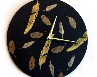 Wall Clock, Gold Feathers, Black and Gold Wall Art, Home Decor, Decor and Housewares, Home and Living