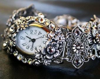 Gothic Watch Silver Filigree Ladies Watch Womens Wrist Watch Bracelet Crystal Swarovski Unique Women Watches Silver Floral Watch for Women