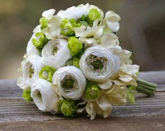 Ivory Silk Ranunculus and Green Hops Brooch Bridal Bouquet