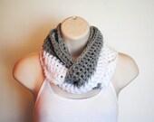 silver snow half and half crochet infinity scarf