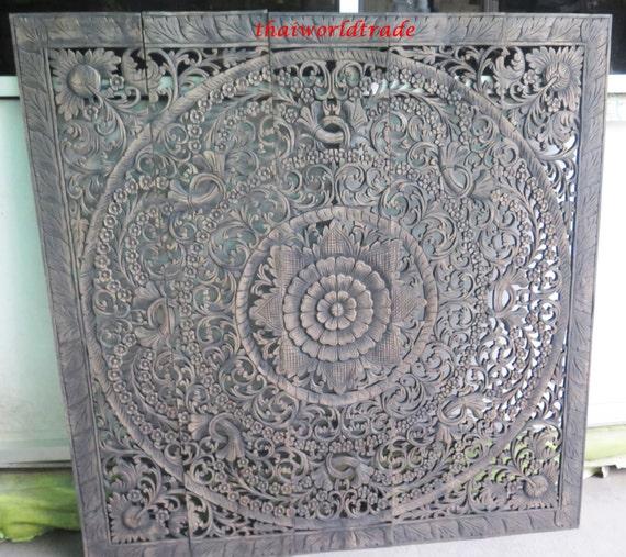 thai lit tête de lit 60 5 pi sculpture lotus flower