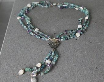 Handmade long Multi-string Pendant Tassel necklace with Tourmaline irregular beads, Amethyst and Baroque pearls