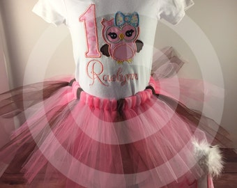 1st Birthday Outfit;Girls 1st Birthday;Owl Birthday;Cake Smash Outfit;Pink And Brown;Look Whooos One;Personalized Bodysuit