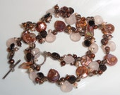Marked Stamped 925 Sterling Silver Shell Pearl Smoky Quartz & Rose Quartz Necklace