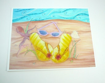 Colorful art print. Beach, shells, flip flops and sunglasses