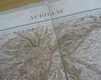 Antique French Army Department Map On Linen. Dated 1925