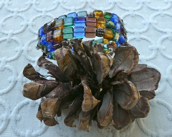 Czech Square Blue and Green Tone Beaded Three Wrap Memory Wire Bracelet