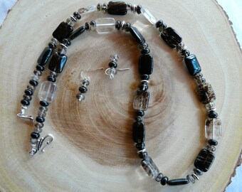 28 Inch Black and White Rutilated Quartz Necklace with Earrings