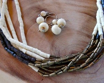 17 - 21 Inch Vintage Multi-Strand Bone Ethnic Necklace with Earrings