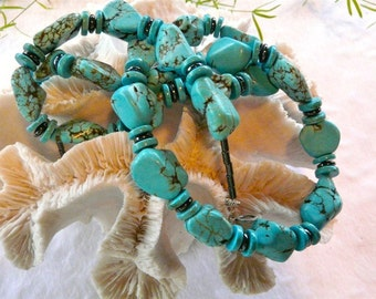32 Inch Chunky Blue Turquoise Nugget Necklace with Earrings