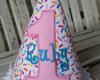 Sprinkles Party Hat - Girls 1st Birthday Hat - Girls Sprinkles Party Hat -  Cake Smash Hat - Girls Sprinkles Birthday Party  Ages 1 - 9