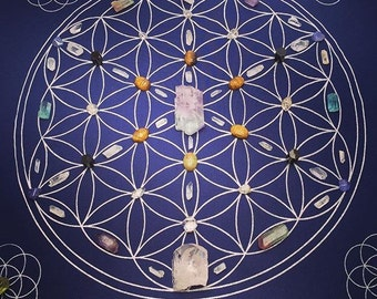 Crystal grid flower of life sacred geometry seed of life bandana mediation limited edition