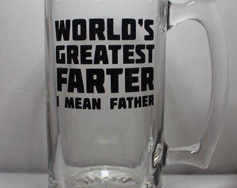 WORLD'S GREATEST FARTER Personalized Glass Beer Mug perfect for Father's Day or Birthday Gift
