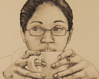 Original etching - portrait of a lady drinking tea, tea pot, tea cup, black and white